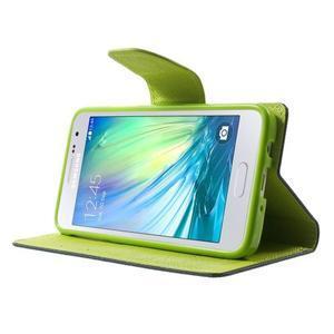 Diary PU kožené pouzdro na Samsung Galaxy A3 - tmavěmodré - 3