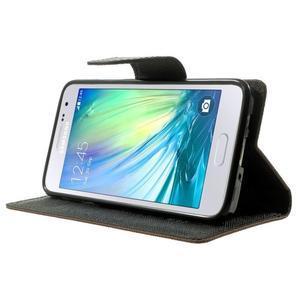 Diary PU kožené pouzdro na Samsung Galaxy A3 - hnědé - 3