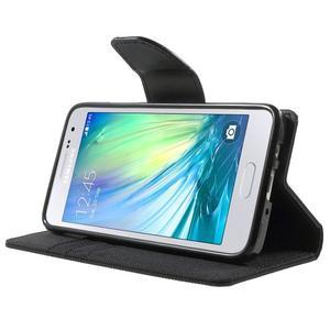 Luxury textilní/koženkové pouzdro na Samsung Galaxy A3 - černé - 3