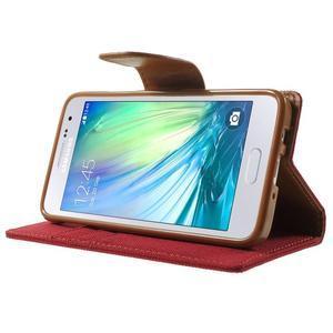 Luxury textilní/koženkové pouzdro na Samsung Galaxy A3 - červené - 3