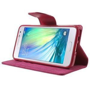Luxury textilní/koženkové pouzdro na Samsung Galaxy A3 - rose - 3