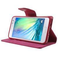 Luxury textilní/koženkové pouzdro na Samsung Galaxy A3 - rose - 3/7