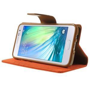 Luxury textilní/koženkové pouzdro na Samsung Galaxy A3 - oranžové - 3