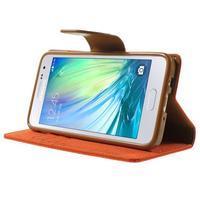 Luxury textilní/koženkové pouzdro na Samsung Galaxy A3 - oranžové - 3/7