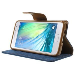 Luxury textilní/koženkové pouzdro na Samsung Galaxy A3 - modré - 3