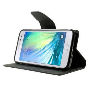 Diary PU kožené pouzdro na Samsung Galaxy A3 - černé - 3
