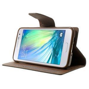 Diary PU kožené pouzdro na Samsung Galaxy A3 - černé/hnědé - 3