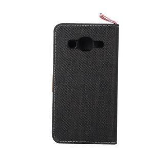 Jeans textilní/koženkové pouzdro na Samsung Galaxy Core Prime - černé - 3