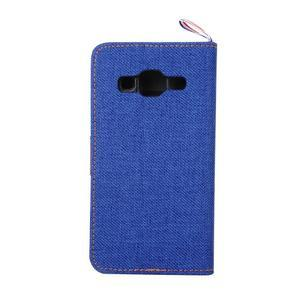 Jeans textilní/koženkové pouzdro na Samsung Galaxy Core Prime - modré - 3