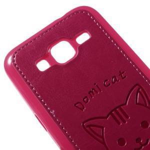 Kočička Domi kryt s koženkovými zády na Samsung Galaxy Core Prime - rose - 3