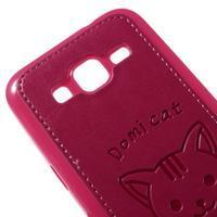 Kočička Domi kryt s koženkovými zády na Samsung Galaxy Core Prime - rose - 3/5