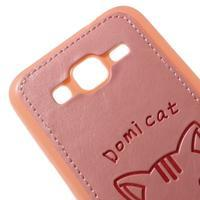 Kočička Domi kryt s koženkovými zády na Samsung Galaxy Core Prime - růžový - 3/5