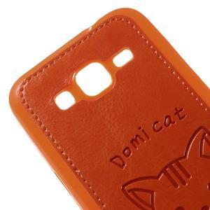 Kočička Domi kryt s koženkovými zády na Samsung Galaxy Core Prime - oranžový - 3