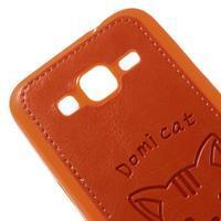 Kočička Domi kryt s koženkovými zády na Samsung Galaxy Core Prime - oranžový - 3/6