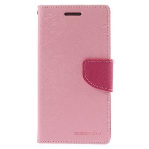 Diary PU kožené pouzdro na mobil Samsung Galaxy Grand Prime - růžové - 3