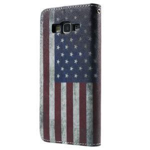 Wallet PU kožené pouzdro na mobil Samsung Galaxy Grand Prime - US vlajka - 3