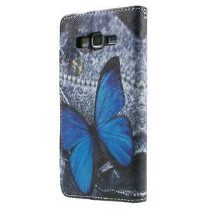 Wallet PU kožené pouzdro na mobil Samsung Galaxy Grand Prime - modrý motýl - 3