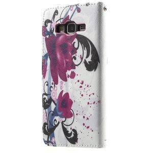 Wallet PU kožené pouzdro na mobil Samsung Galaxy Grand Prime - květy - 3