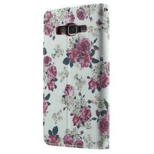 Wallet PU kožené pouzdro na mobil Samsung Galaxy Grand Prime - květiny - 3