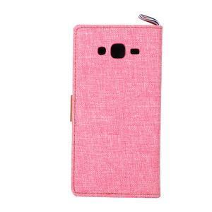 Jeans koženkové/textilní pouzdro pro Samsung Galaxy Grand Prime - růžové - 3