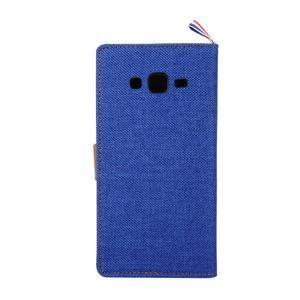 Jeans koženkové/textilní pouzdro pro Samsung Galaxy Grand Prime - modré - 3