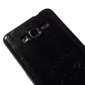 Kočička Domi kryt s PU koženými zády pro Samsung Galaxy Grand Prime - černý - 3