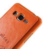 Kočička Domi kryt s PU koženými zády pro Samsung Galaxy Grand Prime - oranžový - 3/6