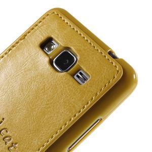 Kočička Domi kryt s PU koženými zády pro Samsung Galaxy Grand Prime - žlutý - 3
