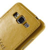 Kočička Domi kryt s PU koženými zády pro Samsung Galaxy Grand Prime - žlutý - 3/6