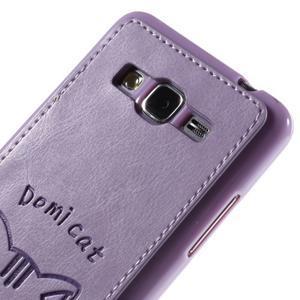 Kočička Domi kryt s PU koženými zády pro Samsung Galaxy Grand Prime - fialový - 3