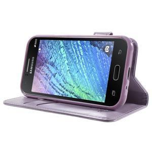 Koženkové pouzdro s kočičkou Domi na Samsung Galaxy J1 - fialové - 3