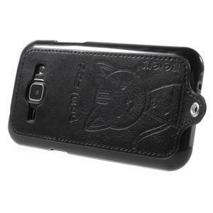 Obal s koženkovými zády a kočičkou Domi pro Samsung Galaxy J1 - černý - 3