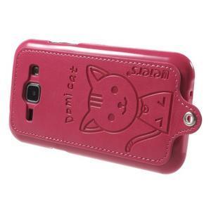 Obal s koženkovými zády a kočičkou Domi pro Samsung Galaxy J1 - magneta - 3