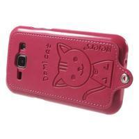 Obal s koženkovými zády a kočičkou Domi pro Samsung Galaxy J1 - magneta - 3/5