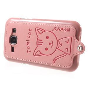 Obal s koženkovými zády a kočičkou Domi pro Samsung Galaxy J1 - růžový - 3