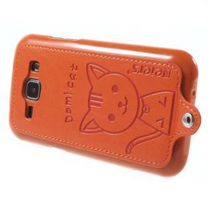Obal s koženkovými zády a kočičkou Domi pro Samsung Galaxy J1 - oranžový - 3
