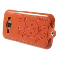 Obal s koženkovými zády a kočičkou Domi pro Samsung Galaxy J1 - oranžový - 3/6