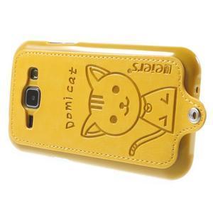Obal s koženkovými zády a kočičkou Domi pro Samsung Galaxy J1 - žlutý - 3