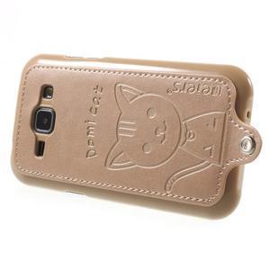 Obal s koženkovými zády a kočičkou Domi pro Samsung Galaxy J1 - zlatý - 3