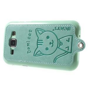 Obal s koženkovými zády a kočičkou Domi pro Samsung Galaxy J1 - azurový - 3