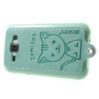 Obal s koženkovými zády a kočičkou Domi pro Samsung Galaxy J1 - azurový - 3/6