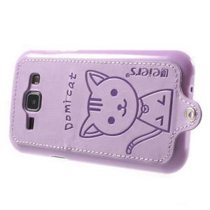 Obal s koženkovými zády a kočičkou Domi pro Samsung Galaxy J1 - fialový - 3