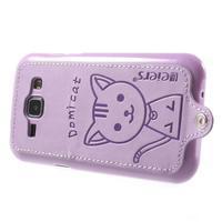 Obal s koženkovými zády a kočičkou Domi pro Samsung Galaxy J1 - fialový - 3/7