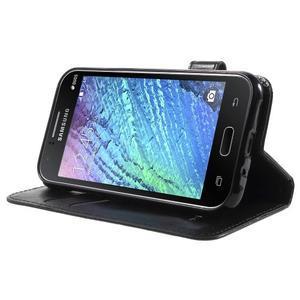 Koženkové pouzdro s kočičkou Domi na Samsung Galaxy J1 - černé - 3