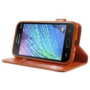 Koženkové pouzdro s kočičkou Domi na Samsung Galaxy J1 - oranžové - 3
