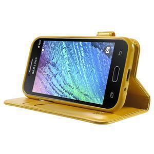 Koženkové pouzdro s kočičkou Domi na Samsung Galaxy J1 - žluté - 3