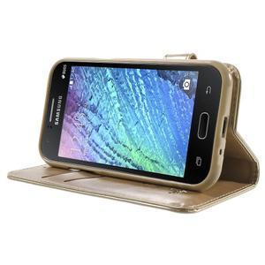 Koženkové pouzdro s kočičkou Domi na Samsung Galaxy J1 - zlaté - 3