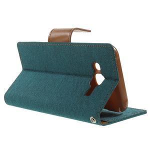 Luxury textilní/PU kožené pouzdro na Samsung Galaxy J5 - zelenomodré - 3
