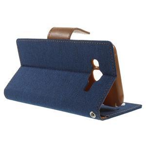 Luxury textilní/pu kožené pouzdro na Samsung Galaxy J5 - modré - 3