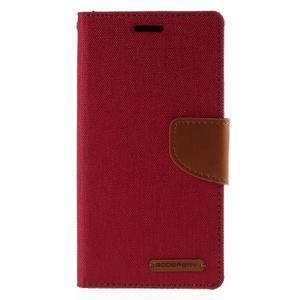 Luxury textilní/koženkové pouzdro pro Samsung Galaxy S6 Edge - červené - 3